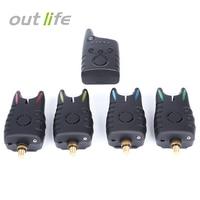 OutLife Digital Wireless LED Fishing Alarm Fishing Electronic Fish Rod Tip Light Indicator Bell 4 Fishing