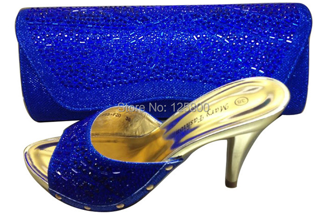 e2b109c27ba Ladies wedding dress shoes with matching evening clutch in BLUE ...