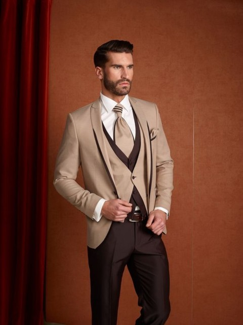 Brown Khaki Suit Men Slim Fit Wedding Suits For Men New Design Formal Tuxedo Groom Suit Blazer 3 Piece Prom Suit Terno Masculino