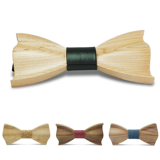 Jbersee Novelty Fashion Bow Ties for Men Best Quality Classic Wood Bowtie 3D Handmade Butterfly Wood Bow Tie Gravata Silm