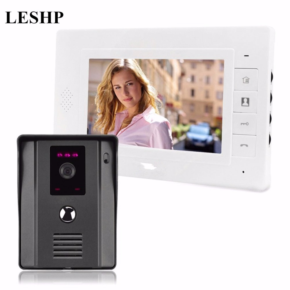 LESHP 7inch Color Video Door Phone Wired HD 420TVL Camera Support IR Night Vision Home Doorbell Max 200m Distance IntercomLESHP 7inch Color Video Door Phone Wired HD 420TVL Camera Support IR Night Vision Home Doorbell Max 200m Distance Intercom