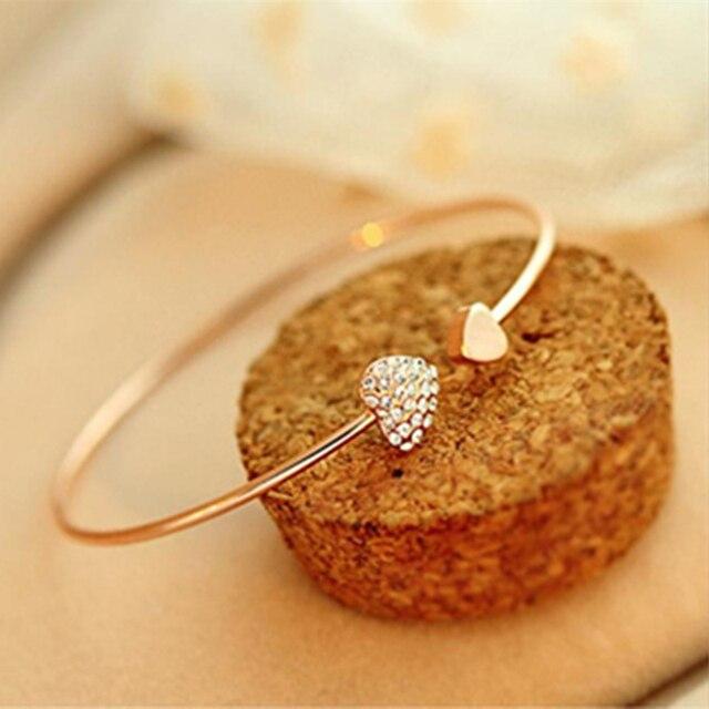 Горячие моды персик сердце кристалл любовь позолоченный браслет Горный Хрусталь браслеты женские браслеты S2