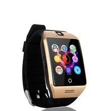 2017 New Q18 Passometer relógio Inteligente com Tela Sensível Ao Toque câmera TF cartão do Bluetooth smartwatch para Android IOS Telefone