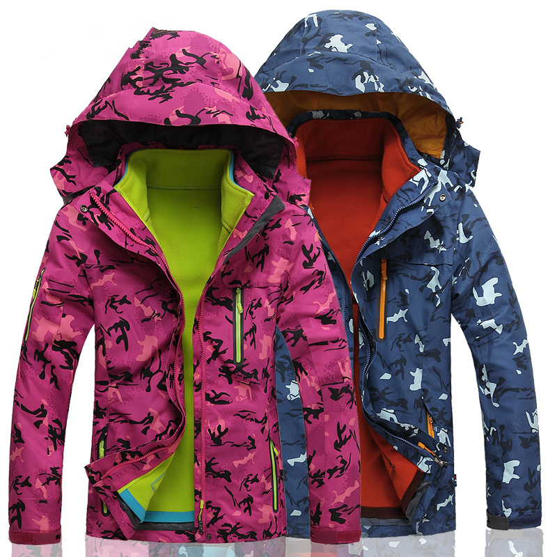 где купить  Hiking Jackets New plus size three-in twinset thermal breathable mountaineering wear Autumn  winter outdoor jacket female male  по лучшей цене
