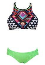 2019 New Women Floral Printed Bikini Set High Neck Push Up Padded Bras Triangle Swimwear Brazilian Bathing Suit
