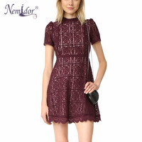 Nemidor Women Summer Elegant O Neck Short Sleeve Bridesmaid Retro Swing Dress Casual Slim Party A