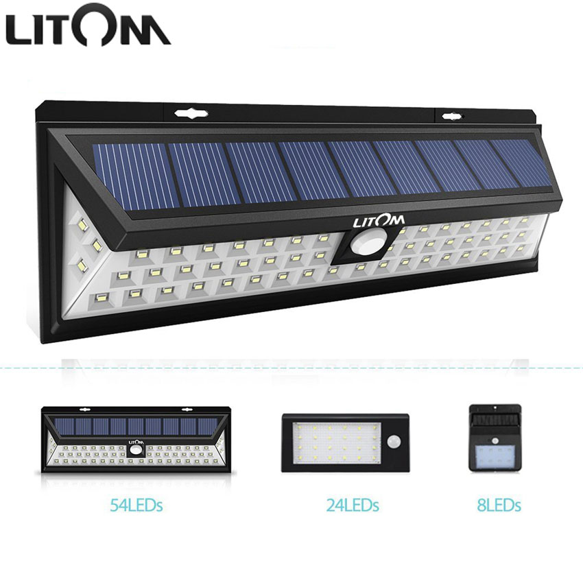 LITOM 54 LED Solar Lamp Waterproof Wide Angle Motion Sensor Solar Lights 120 Degree Wireless Outside Wall Activated Deck Light
