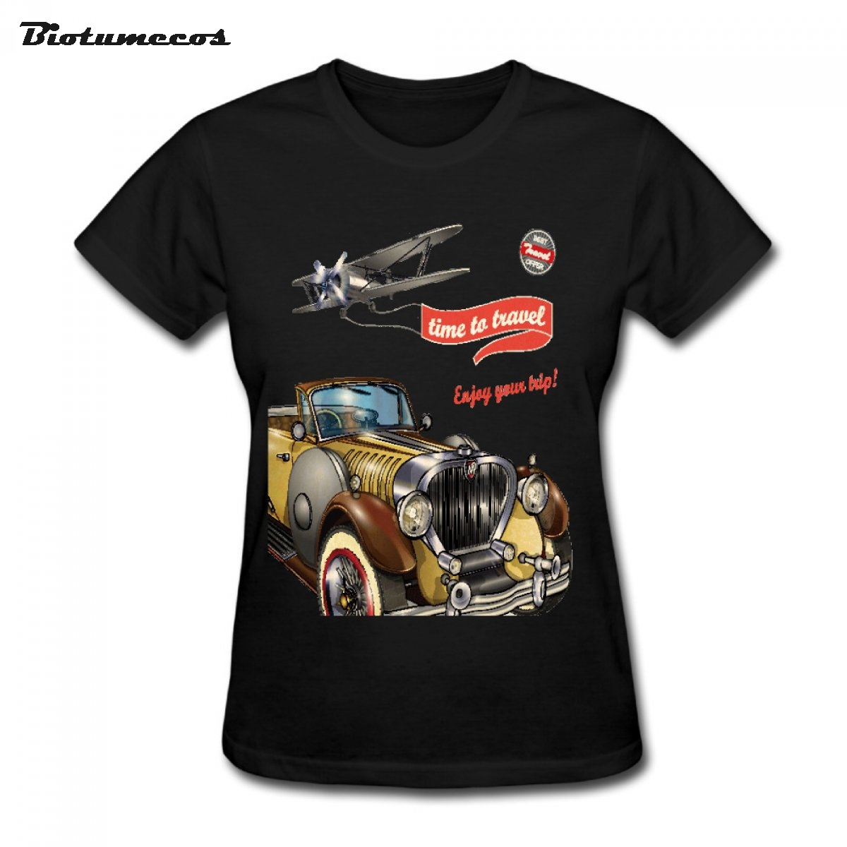 Fashion Summer Stytle Design Time To Travel Enjoy Your Trip Brown Bubble Car Glider Printed T-shirt Brand Clothes WTCC074