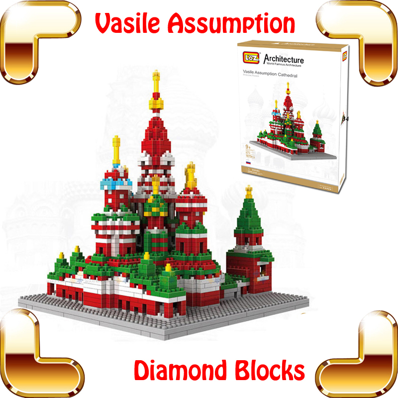 New Year Gift Diamond Blocks Vasile Assumption Cathedral 3D Model Building Toy Church Model Block DIY Brick Structure PCS UP
