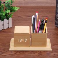 VODOOL Electronic Wood Pen Holder Desk Organizer Smart LED Alarm Clock Calendar Display Sound Control Pencil Office Stationery