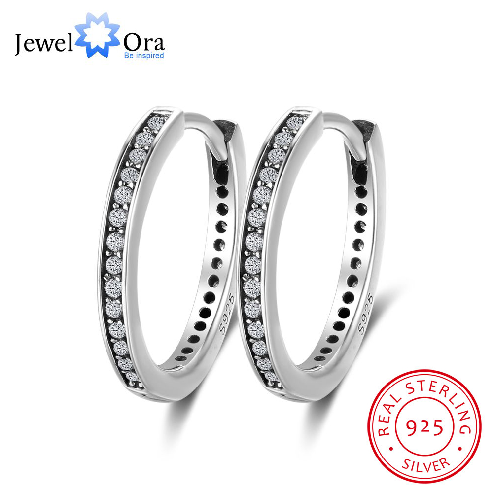 Solid 925 Sterling Silver Stud Earrings for Women Hoop Shape Earrings Cheap Wholesale Silver Jewelry(Jewelora EA102005)