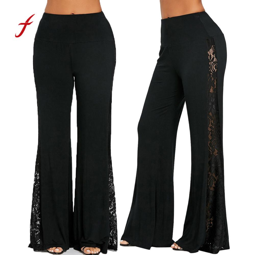 2018 Fashion Womens High Waist Lace Insert Wide Leg Pants Leggings Loose Trousers