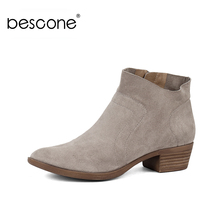 BESCONE Fashion Round Toe Square Heel Ladies Boots Basic Solid 4 cm Med Heel Shoes Casual Zip Handmade Women Ankle Boots BY19 цены онлайн