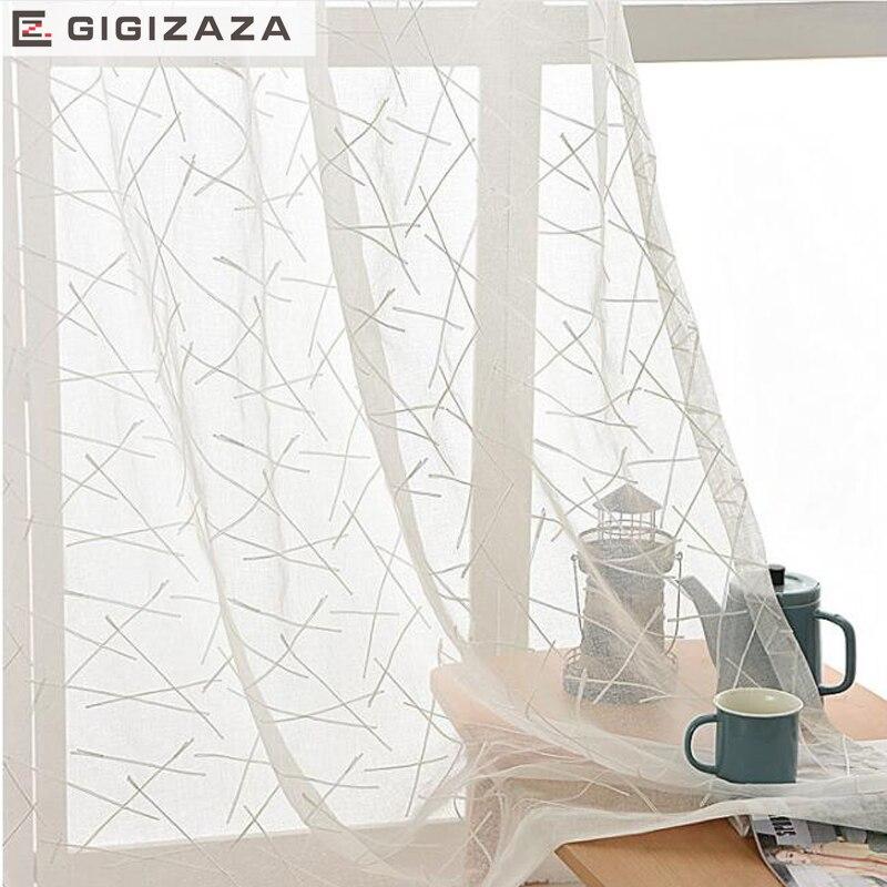 GIGIZAZA nuevo geométrico blanco bordado voile cortinas para sala de estar rod bolsillo tul cortina ventana sheer listo tamaño personalizado 3 colores 150 cm x 180 cm Panel transparente Voile ventana cortina habitación Floral tul bufandas cortinas