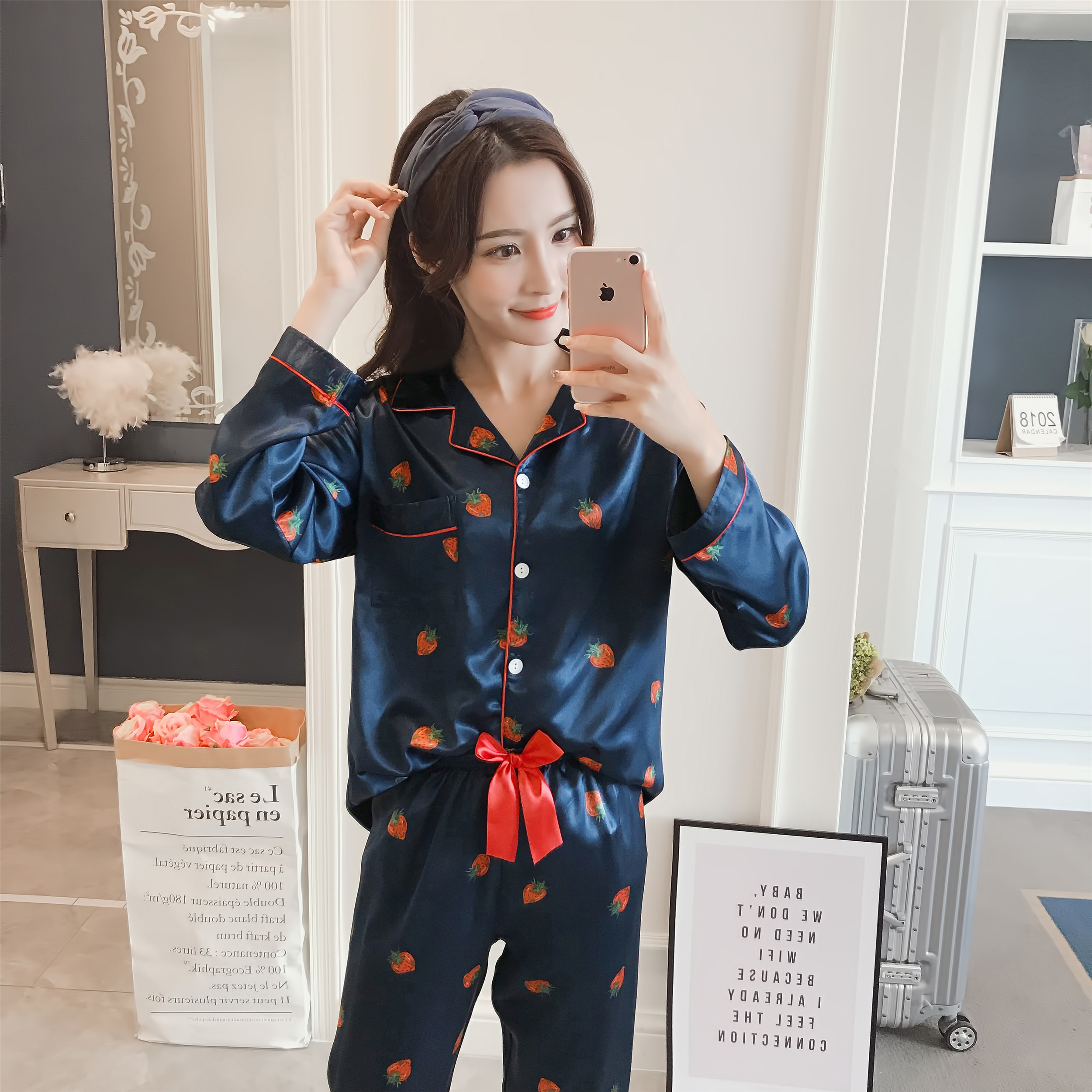 2018 Sale WAVMIT Long Sleeve Silk   Pajamas     Set   Two Pieces   Set   Women Sleepwear Sexy Nightwear for Women Sleepwear Long Pant   Set
