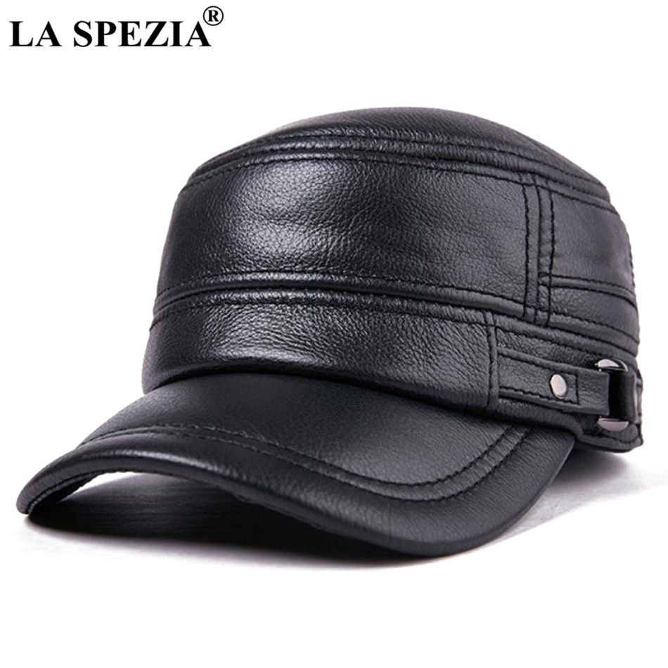 890b8504132 LA SPEZIA Autumn Winter Cap Men Army Military Hat Genuine Cow Leather Black  Navy Sailor Hat