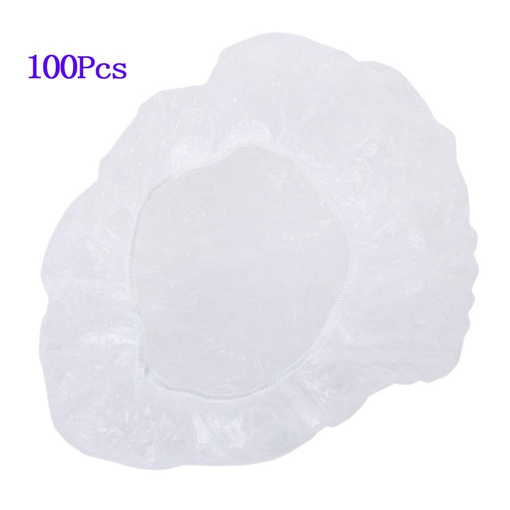 PHFU 100pcs bonnets de douche de cheveux jetables et clairs pour salon spa