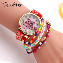 2017 TEMPTER Hot Sales Owl  Leather Bracelet Watch women ladies men fashion dress quartz wrist watch  Reloj Mujer  Montre Femme
