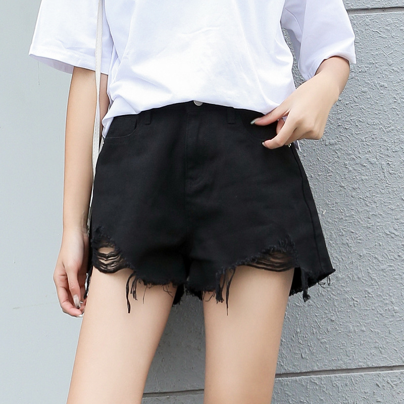 Denim Shorts Women 2019 Fashion Ladies Tassel Hole High Waist Summer Short Jeans Sexy Mini Booty Shorts For Woman Black Short