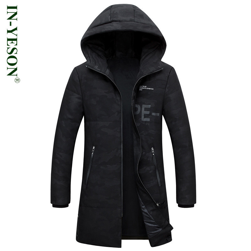 IN-YESON Brand Long Down Jacket Men Military Style Camouflage Mens Duck Down Coat Thick Windproof Winter Jacket Men -40 degree