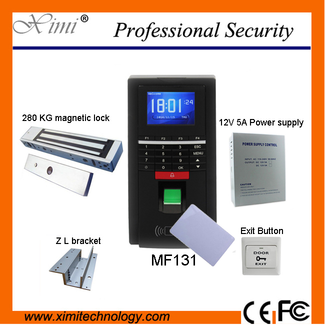 DIYSECUR TCP/IP USB Fingerprint IC Card Reader Password Keypad Door Access Control System + Power Supply + 280kg Magnetic Lock f807 biometric fingerprint access control fingerprint reader password tcp ip software door access control terminal with 12 month