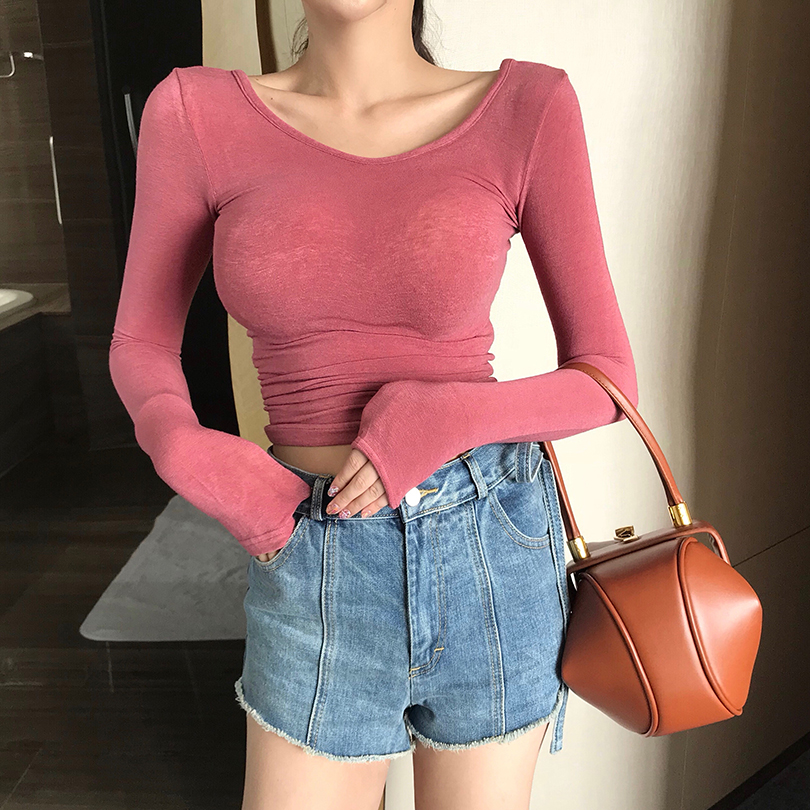 2018 Autumn Women O-neck Knitted Cropped Girls Full Sleeve Sheath Thin Knit Crop Tops For Female