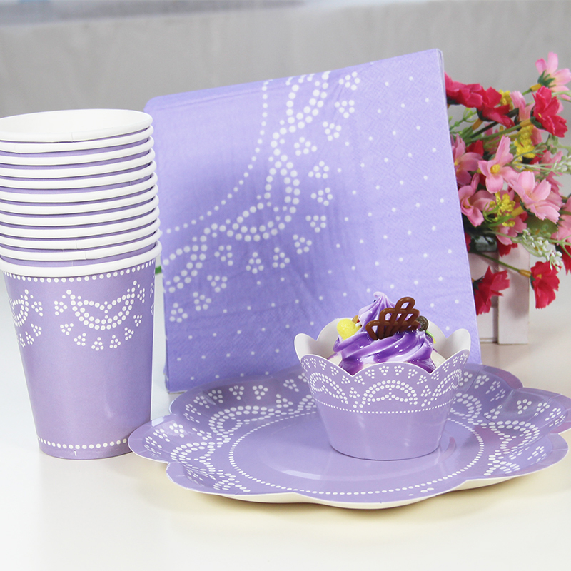 Purple Design Party Supplies Disposable Tableware Sets Paper Plates Cups Napkins Rose Flowers Wedding Decoration-in Disposable Party Tableware from Home ... & Purple Design Party Supplies Disposable Tableware Sets Paper Plates ...