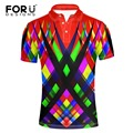 FORUDESIGNS Mixed Color 3D Plaid Polo Shirt Men Short Sleeve Casual Man Slim Fit Shirt Summer Breathable Turn-down Collar Polos