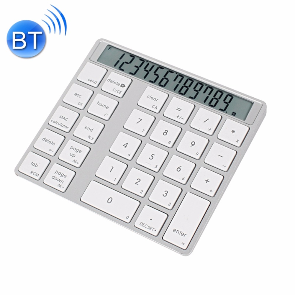 MC Saite MC-58AG USB Charging Bluetooth 3.0 Numeric Keyboard with 12-digit Display LED indicator for Laptop Desktop PC Notebook