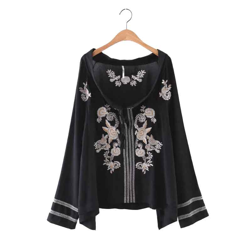 Vintage Ethnic Blouse Shirt Women Loose Long Sleeve Rayon Embroidery Shirts Cotton Tops Female Retro Blusas