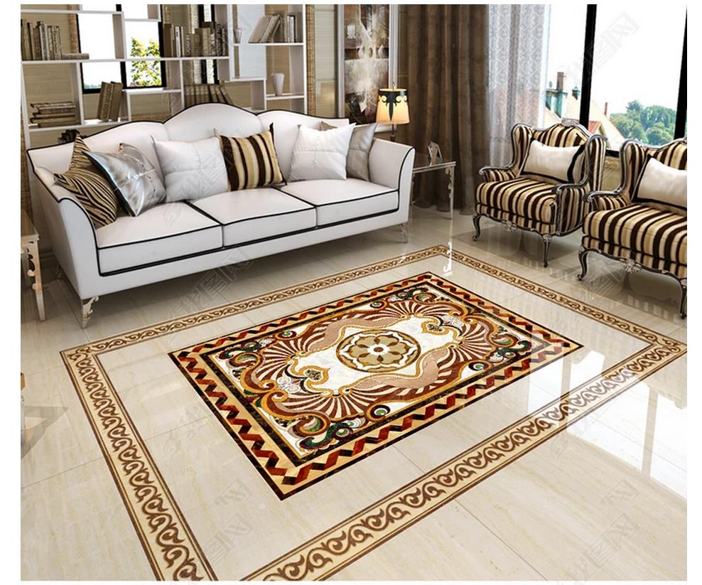 Custom photo wallpaper 3d flooring Waterproof self-adhesion murals European marble tile floor sticker wallpaper living room wall free shipping straw weave rattan floor 3d flooring custom living room self adhesive home decoration photo wallpaper mural