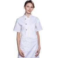 2019 new arrival Restaurant kitchen chef wear short sleeved chef uniforms baker workwear for women
