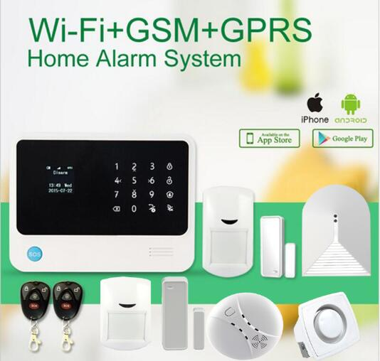 WiFi  Internet GSM Alarm System Home Alarm Security Wireless Glass break detector+Wireless Smoke Detector+mini siren yongkang wireless 433mhz 1527 200k smoke detector for gsm alarm system