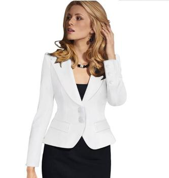 Blazer Female Blue Women Suit Office Ladies 2017 New Spring Slim Top Elegant Short Design Clothes Two buckle suit woman coat 4XL