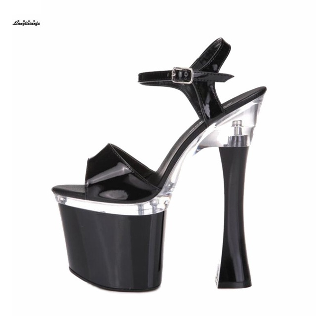 6494ebebe5 US $98.0 |Plus:34 43 44 Summer Nightclub sandals Mujer Plataforma sexy 19cm  ultra high Square heel crystal shoes woman Ankle Strap pumps-in High Heels  ...