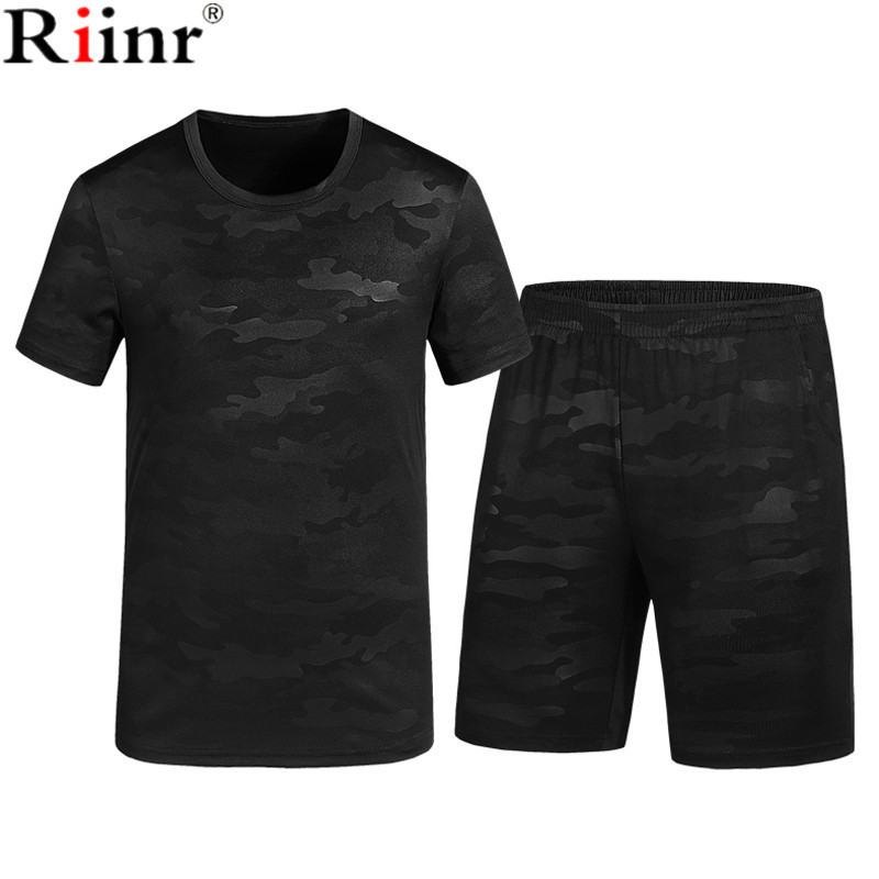 Riinr Fashion New Arrival Mens Sportswear Summer Camouflage Polyester Military Style T-Shirt+Shorts 2 Piece Set Tracksuit Men