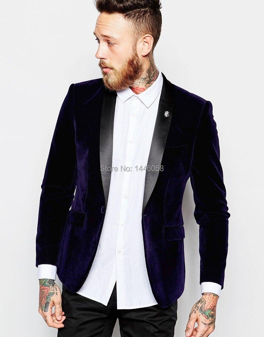 2016 New Arrival One Button Navy Blue Velvet Blazer Groomsmen Suit Prom Groom Tuxedos Mens Wedding Suits Custom Made Jacket+Pant