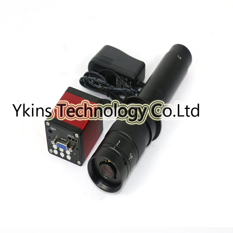 720P 13MP 1/3 CMOS HDMI VGA 60F/S Industrial Video Microscope Camera Set + 180X 300X Adjustable Magnification Zoom C-mount Lens 60f s 1080p full hd hdmi industrial video microscope camera ir remote control for repair iphone pcb smd smt bga