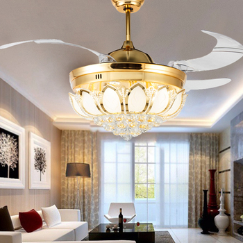 Modern ceiling fan crystal light luxury folding ceiling fan Dining Room Lamp w/remote control 2