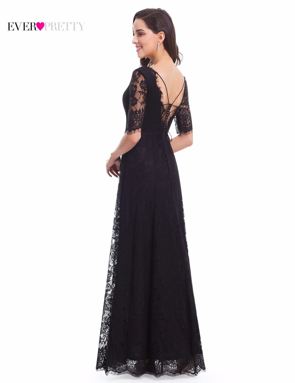 Elegant Half Sleeve Lace Formal Evening Black Long Dress Ever Pretty EP07084 New Arrival 2017 ...
