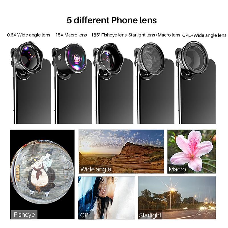 5in1 4 K HD Telefoon Camera SLR Lens Kits: foto Filter CPL & Star 8 & Statief + Awesome Fisheye & Groothoek & Macro Lenzen voor Smartphones - 4