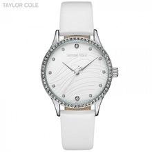 Taylor Cole muñeca relojes para las mujeres reloj mujer Cristal de plata  Correa blanca reloj Relojes fa48dac1f632