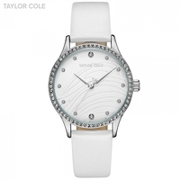 Taylor Cole Wrist Watches for Women Reloj Mujer Round Silver Crystal White Watchband Clock Women's Watches Horloge Dames / TC103