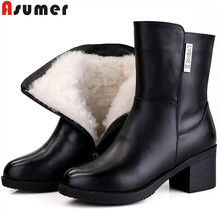 ASUMER 2020 fashion winter ankle boots for women round toe zip genuine leather high heels keep warm shearling snow