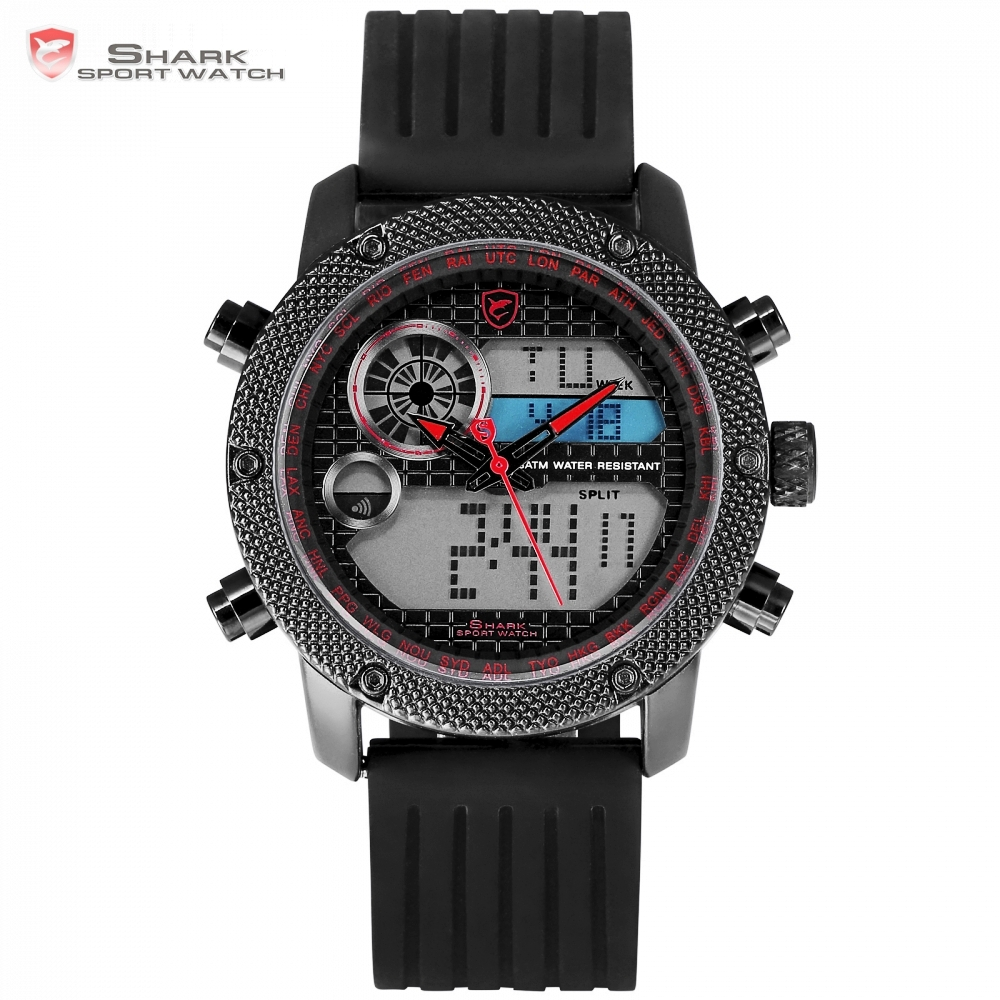 Porbeagle Shark Sport Watch Original Men LCD Digital Analog Alarm Stopwatch Black Relogio Hour Clock Reloj Hombre Watches /SH586 splendid brand new boys girls students time clock electronic digital lcd wrist sport watch