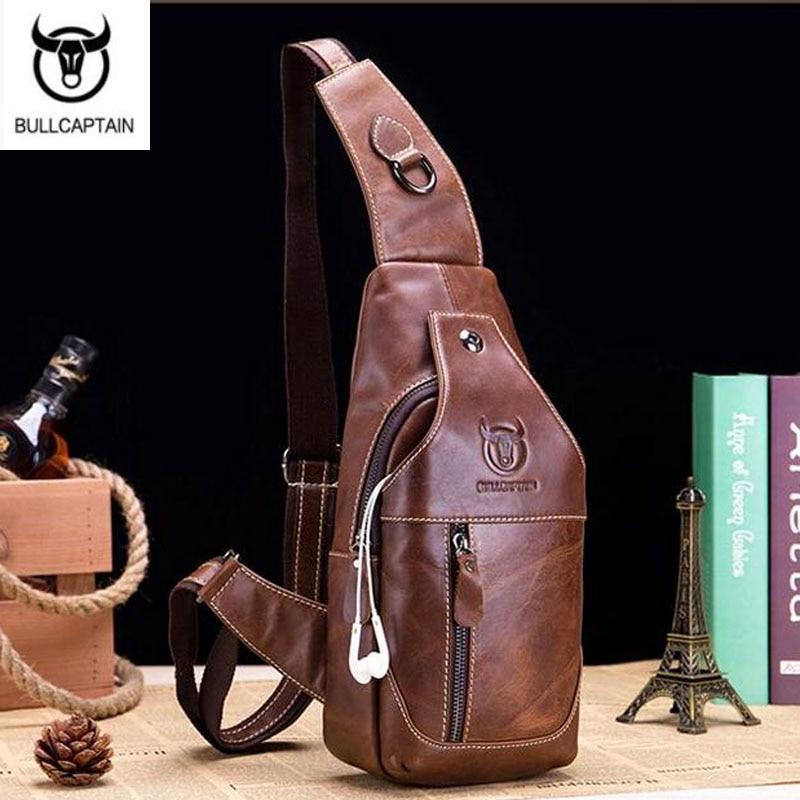 BULLCAPTAIN Echtes Leder Herren Messenger Bag Casual Bag Crossbody Tasche 2kr 1X