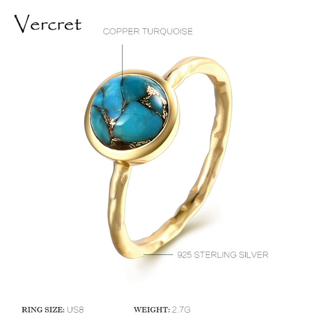 Delicate Turquoise Ring Gold Plated Sterling Silver 2