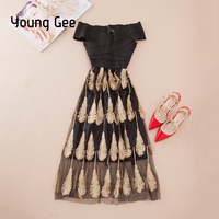 YoungGee Celebrity Bandage Dress Women Bodycon Off the Shoulder Lady Elegant Holiday Lace Embroidery Midi Party Dresses vestido