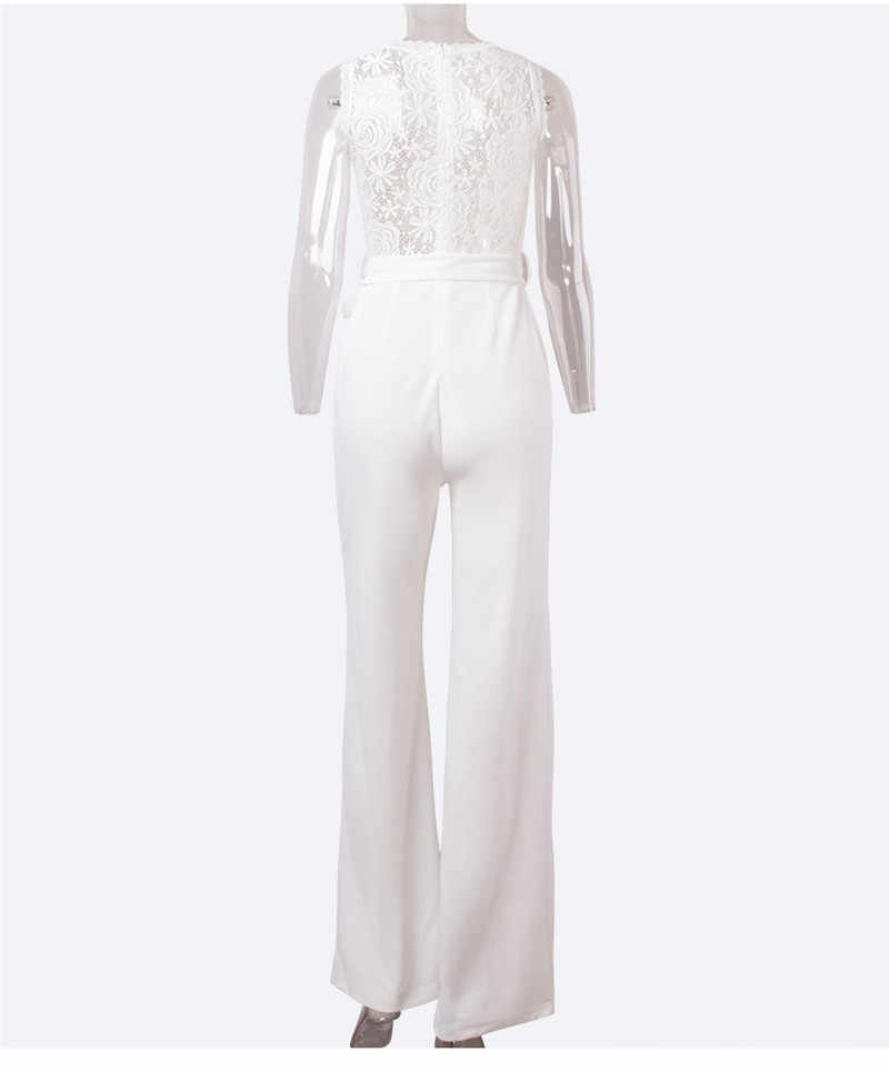 e42beb5388fdeb ... Elegant Formal Sheer White Lace Jumpsuit Womens Overalls Sexy Mesh  Patchwork Romper Loose Long Trousers Female ...