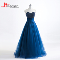 2017 Amazing Sweetheart Top Pearls Navy Blue Puffy Tulle Lace Up African Cheap Long Formal Evening Dresses Discount Prom Gown